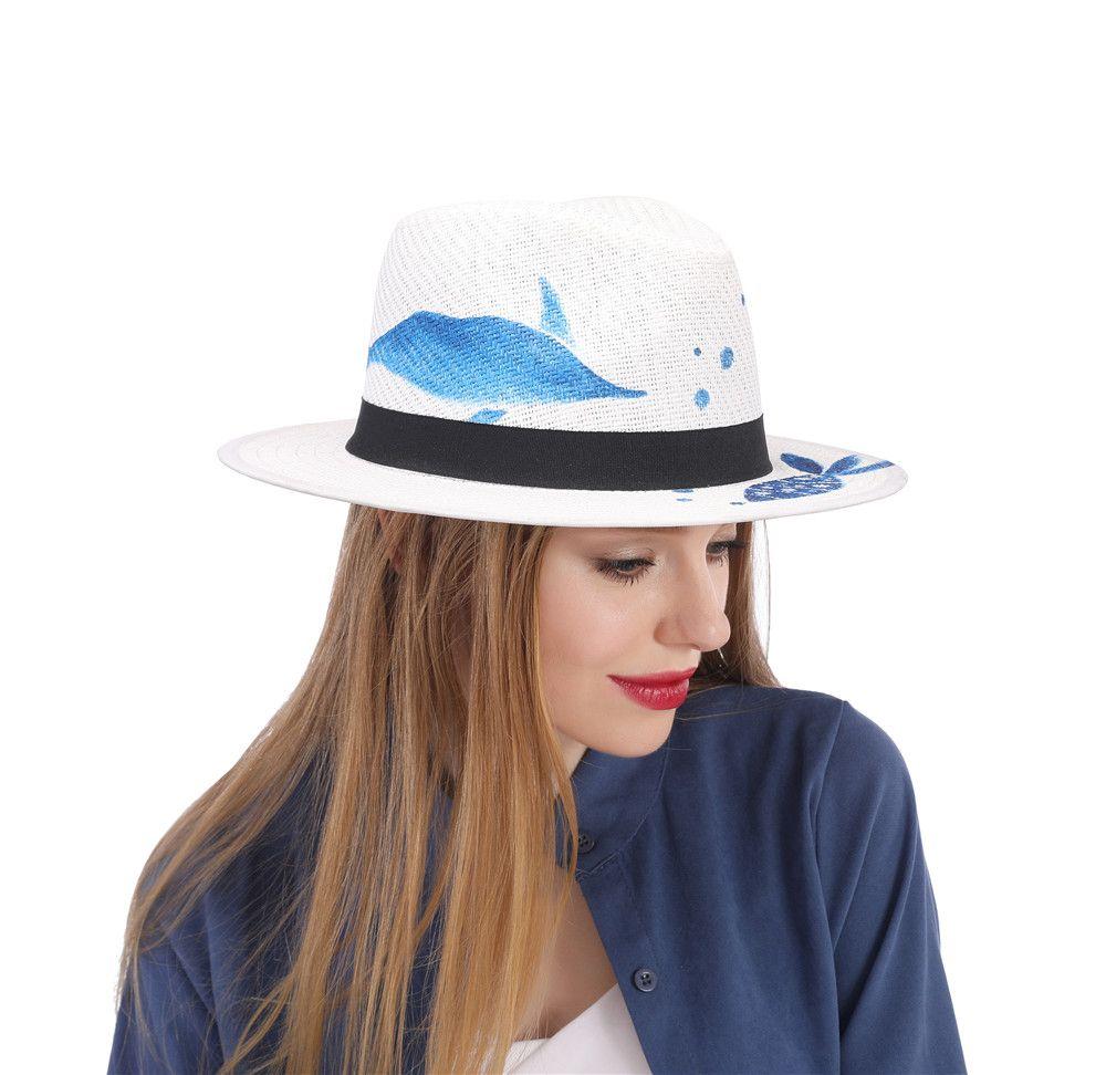 f1335e2a84784 Compre Sombrero De Verano De Paja Para Mujeres Sombrero De Playa De Ala  Ancha Para Mujer Con Sombrero De Sunbonnet De Pez Azul Pintado A Mano  Tamaño  58 CM ...