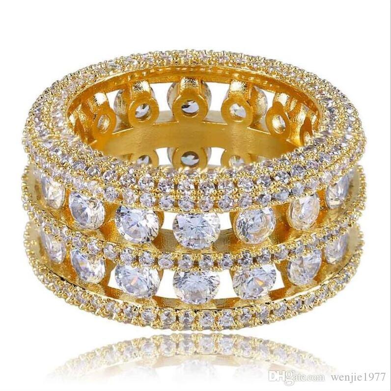 2e4b67a6fb69 Compre 18K Con Incrustaciones De Oro Anillo De Diamante Importado Anillo De  Oro De Moda Calado Tamaño Del Anillo De San Valentín  7 8 9 10 11 Envío  Gratis A ...