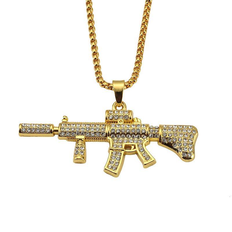 Wholesale cool m4 gun pendant men hip hop fashion necklaces 18k gold wholesale cool m4 gun pendant men hip hop fashion necklaces 18k gold plated punk rock style full rhinestone crystal for 75cm long chain pendants for mozeypictures Images