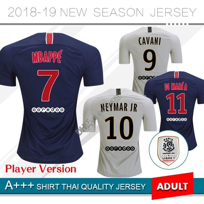 19504fa6d1 2018 2019 Player Version Paris Saint Germain Jerseys 7 MBAPPE NEYMAR JR  BUFFON VERRATTI CAVANI Custom 18 19 Local Fuera Camiseta De Fútbol Por  Homejersey