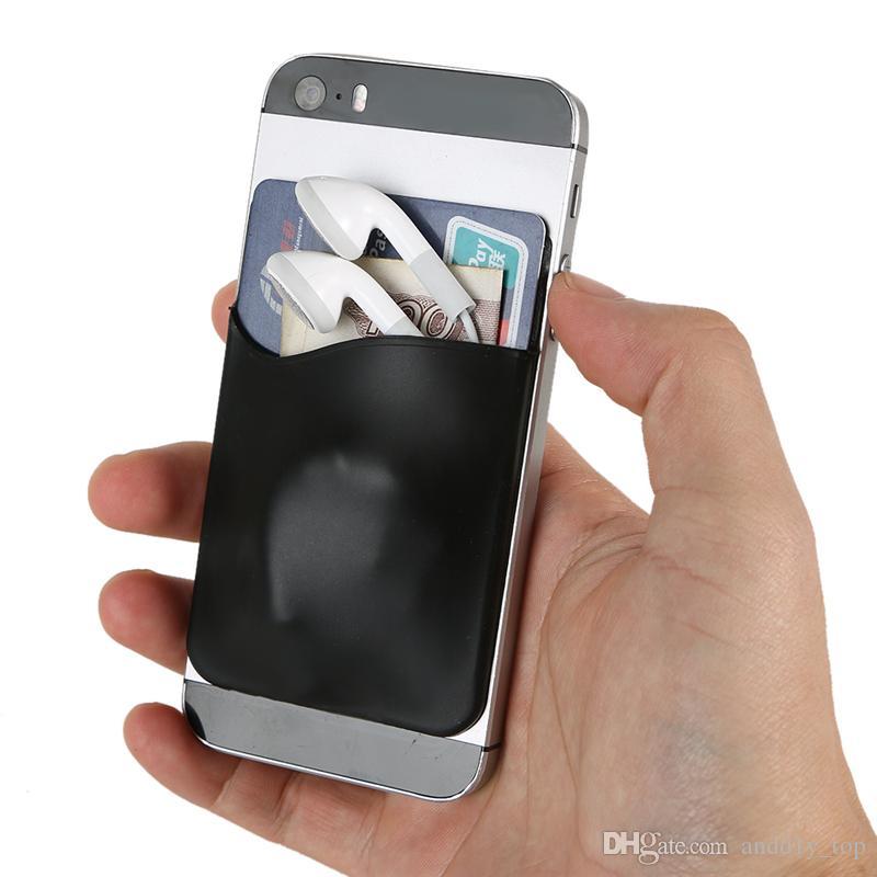 Titulaire de la carte de téléphone Silicone Cell Phone Wallet Case titulaire de la carte d'identité de crédit Pocket Stick sur 3 M adhésif avec sac d'OPP