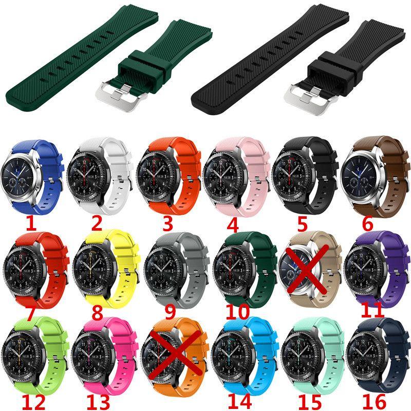 삼성 기어 S3에 대한 부드러운 실리콘 남자 시계 교체 팔찌 스트랩 기어 S3 프론티어 클래식 시계 밴드 22mm