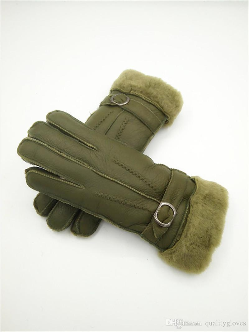 Classic women Winter Fur Gloves Fashion Wool Gloves Fashion Genuine Winter Leather Gloves Wind frost protection