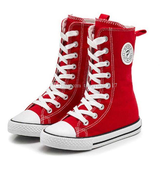 Childrens Shoes for Girl Children Canvas Shoes Boys Sneakers 2018 Spring  Autumn Girls Shoes White Red Black High Solid Fashion Children Casual Shoes  Kids ... 64e62910d6a5