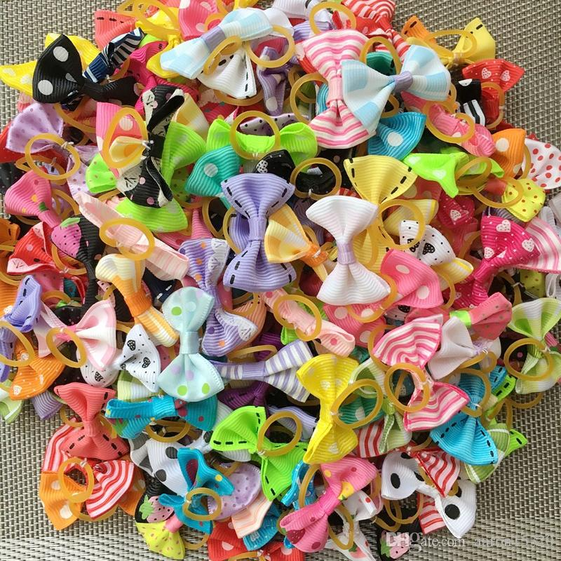 100pcs/lot Pet Dog Hair Bows Topknot Mix Rubber Bands Bows Pet Grooming Products Mix Colors Varies Colors Pet Hair Bows