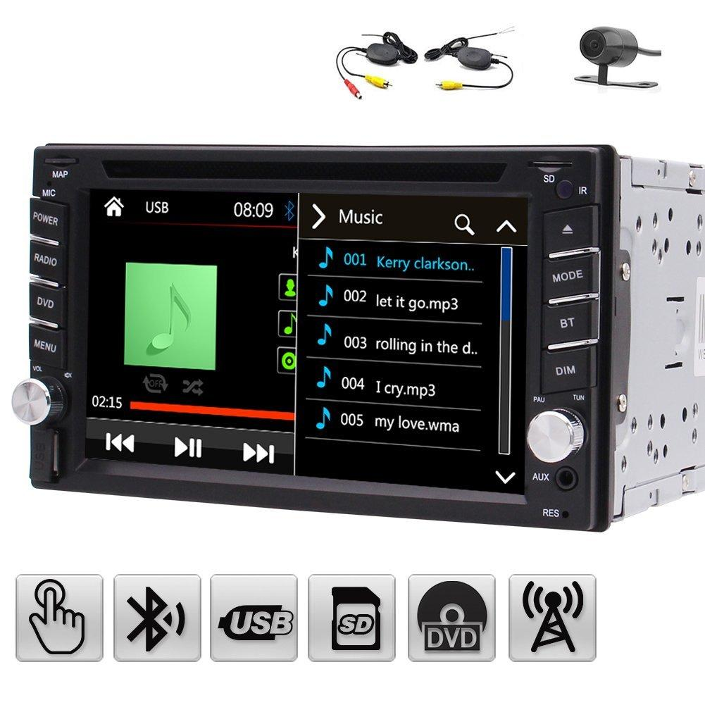 6.2'' Dash Car DVD Player Double Din Vehicle Automotive Car CD Mp3 Media Player  Car Stereo WinCE System FM/AM Receiver Bluetooth+Camera Cheap Black Dvd ...