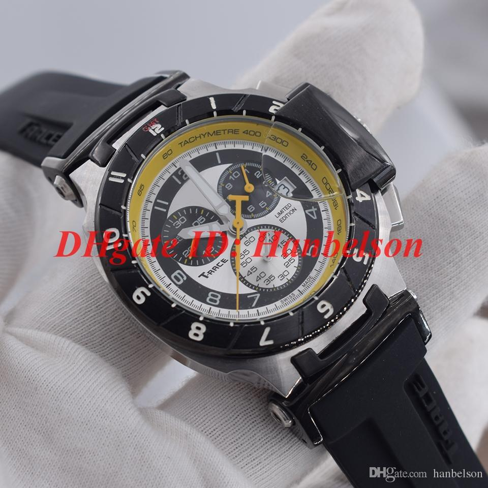 New 1853 SPECIAL COLLECTIONS Men watch Quartz movement Sports Rubber Band T RACE Black bezel Folding clasp WristWatch