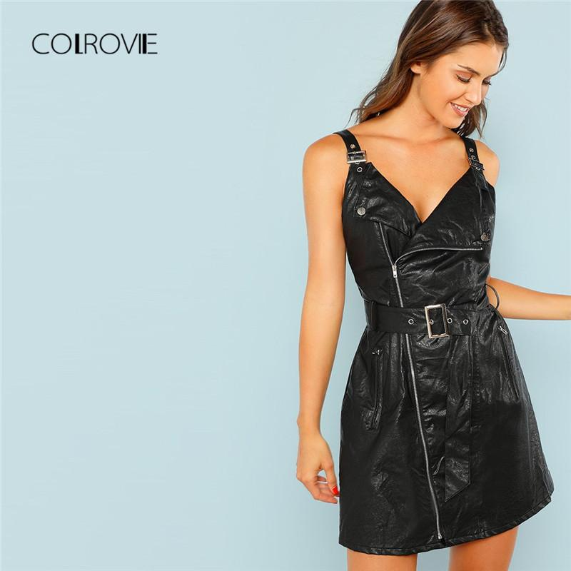 2cc5331da9c 2019 COLROVIE Black V Neck PU Leather Rock Bodycon Dress Autumn Zip Front  Adjustable Belted Pinafore Sexy Dress Women Dresses From Zhenhuang