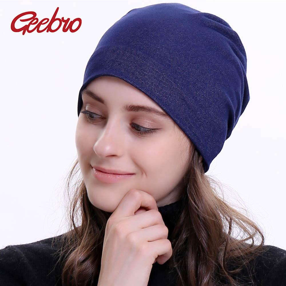 b69a7dfeb5a Geebro Brand Women S Beanie Hat 2018 New Plain Flat Jean Beanies For Ladies  Cotton Denim Slouchy Skullies Woman Knitted Bone Cap Beanies For Girls Baby  Hat ...
