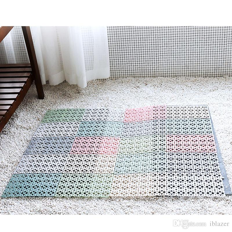 Multi Functional Bathroom Rugs Shower Mats Non Slip Mildew Resistant Bath Mats with Suckers Suction Cups Drain Holes Toilet Washroom Shower