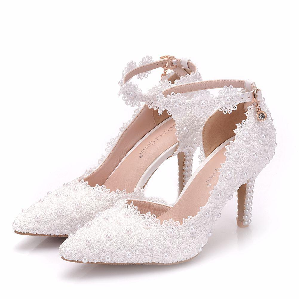 New Summer elegant pointed toe shoes for women white lace flowers high heel wedding shoes pearls thick heels elegant Plus Size Shoes