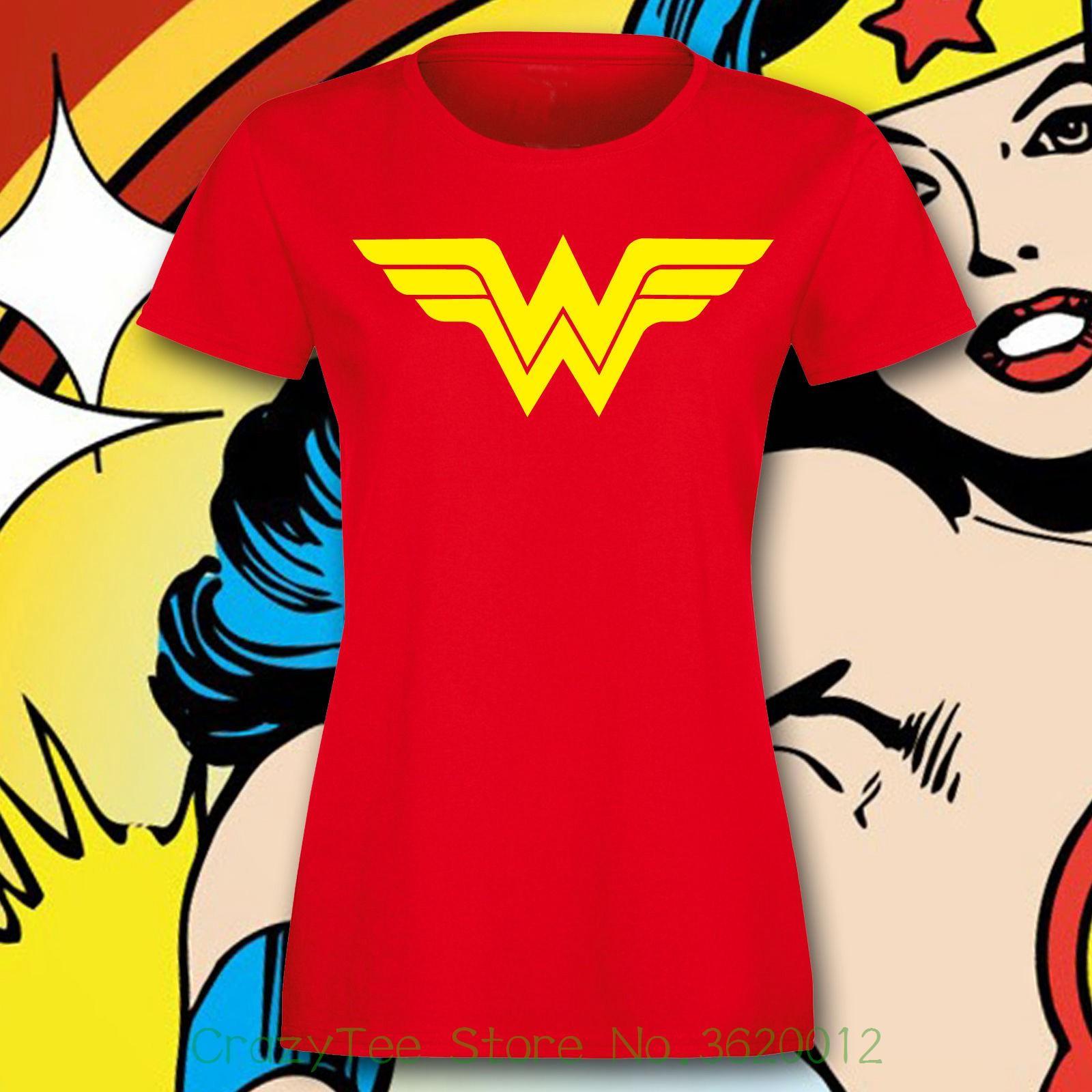 Compre T Das Mulheres Mulher Maravilha Camiseta Senhoras Ajustadas Super  Hero Costume Party Top Retro Legal S 2xl Harajuku Camisa De Manga Curta De  ... 570644652ec25