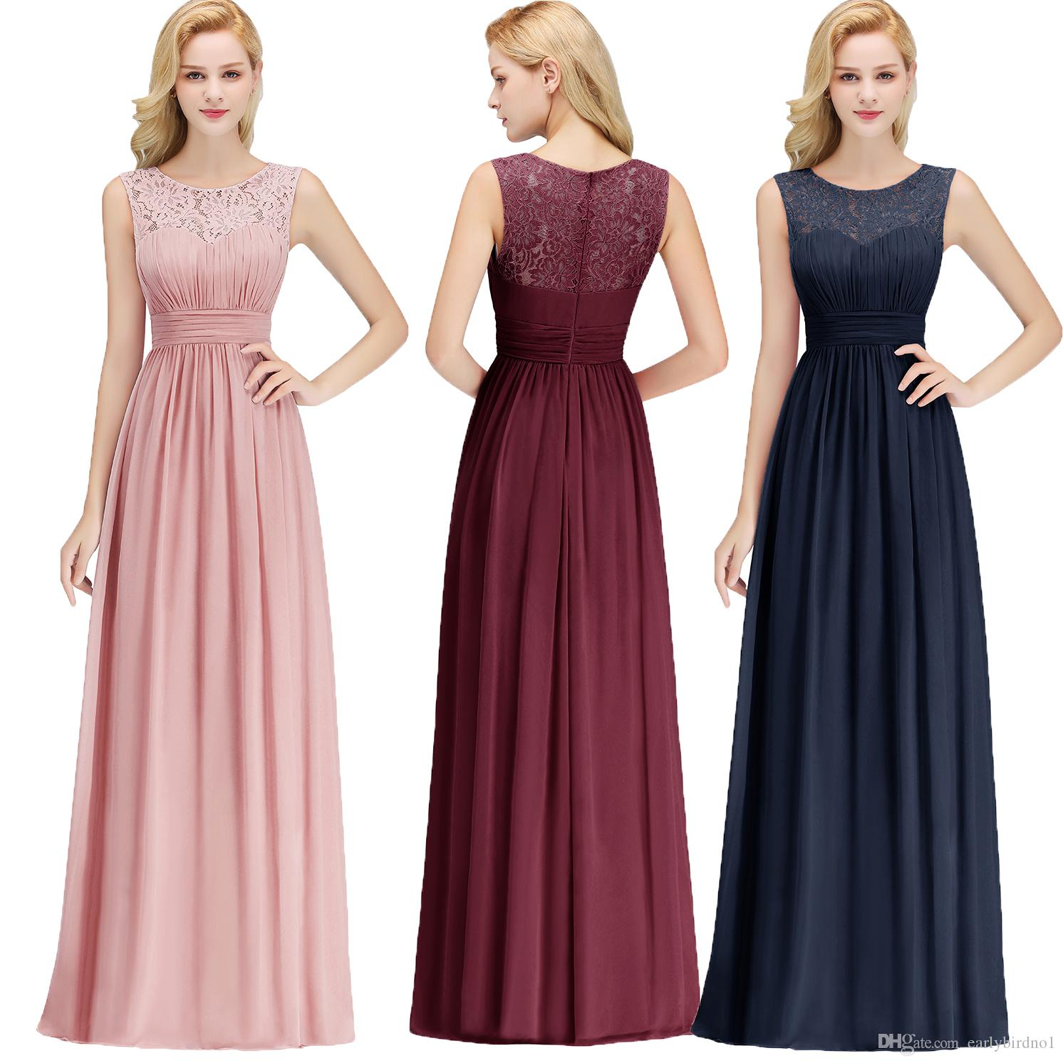 New Arrival Blush Pink Navy Blue Burgundy Bridesmaid Dresses Lace Chiffon  Floor Length Beach Garden Maid of Honor Gown Under $50 CPS1067