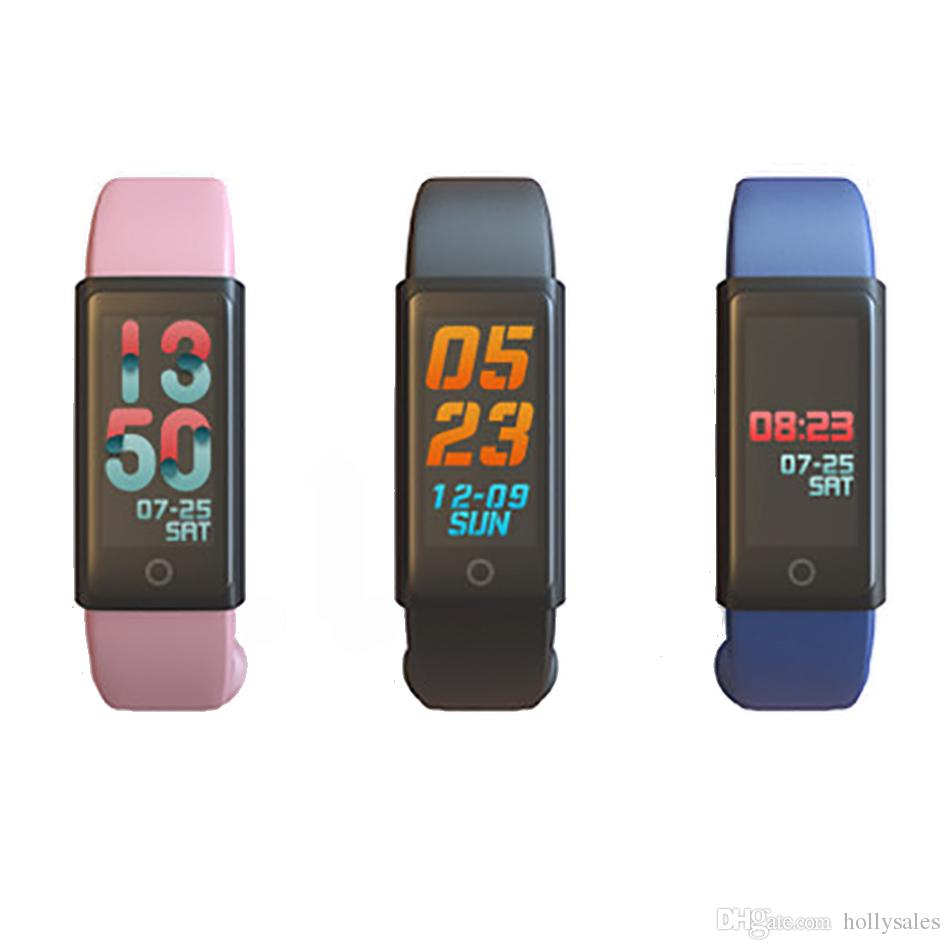 2018 brand new Fscreen bluetooth v4.1 smart bracelet sports wristband watch with steps heart-rate blood pressure spo2 duration
