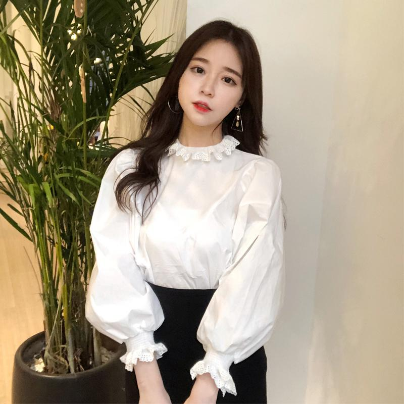 09fc93b8e65171 2019 Princess Lace Patchwork White Blouse Big Puff Sleeve Cute Shirt Women  Top Chemise Femme Chemisier Blanca Blusa Mujer Camisa From Mangcao, ...