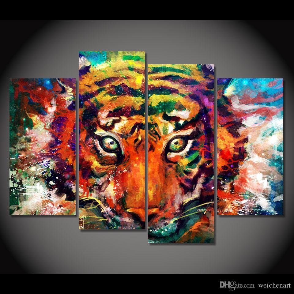 4 Paneli Tuval Sanat Tuval Salon Renkli Tiger HD Baskılı Duvar Sanatı Poster Ev Dekorasyonu Resmi Boyama