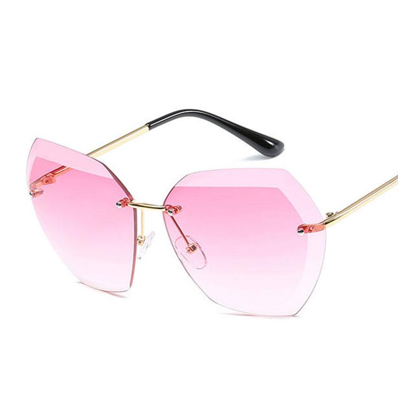 234456003e7 New Brand Designer Rimless Sunglasses Women Oversized Vintage Sun Glasses  For Travel Photo Fashion Female Brand Eyewear Retro UV400 Smith Sunglasses  ...