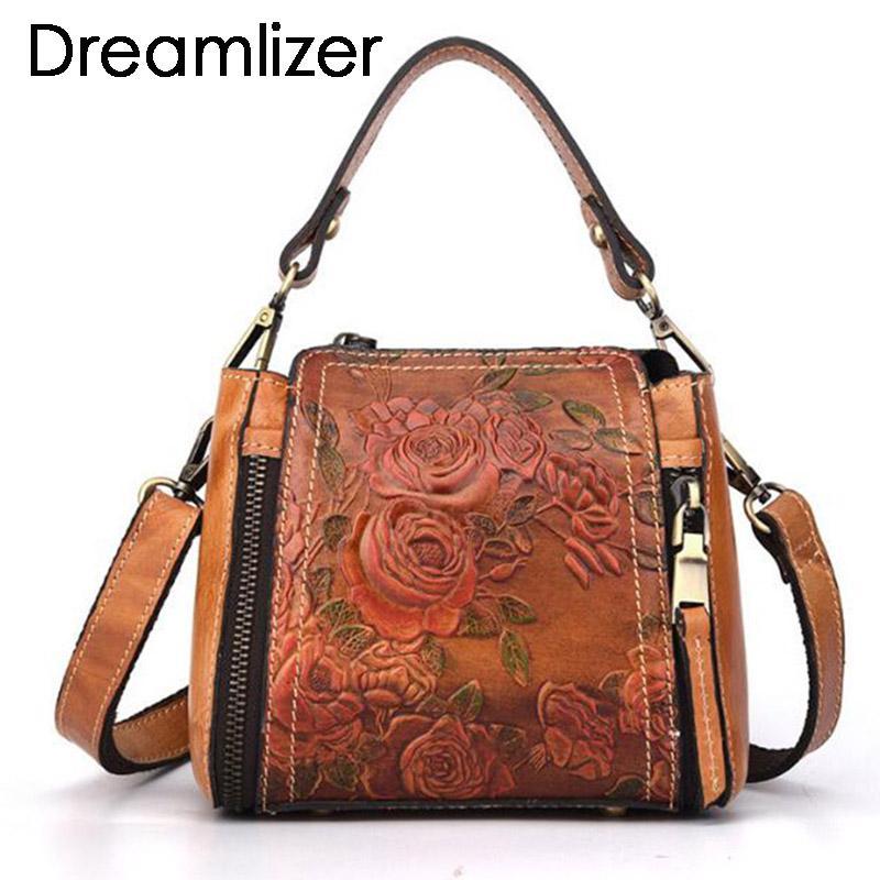 420372669535e Großhandel Kleine Vintage Marke Frauen Echtes Leder Klappe Taschen  Blumenmuster Leder Damen Handtasche Taschen Weibliche Bolsa Umhängetasche  Damen Von ...