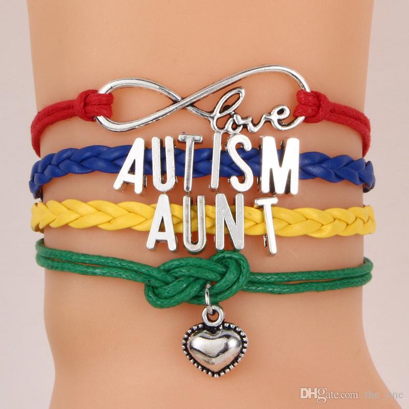 Love AUTISM jewelry bracelet Heart Charm bracelets braid wristband kids friendship gifts Mom Dad aunt Nana Sister