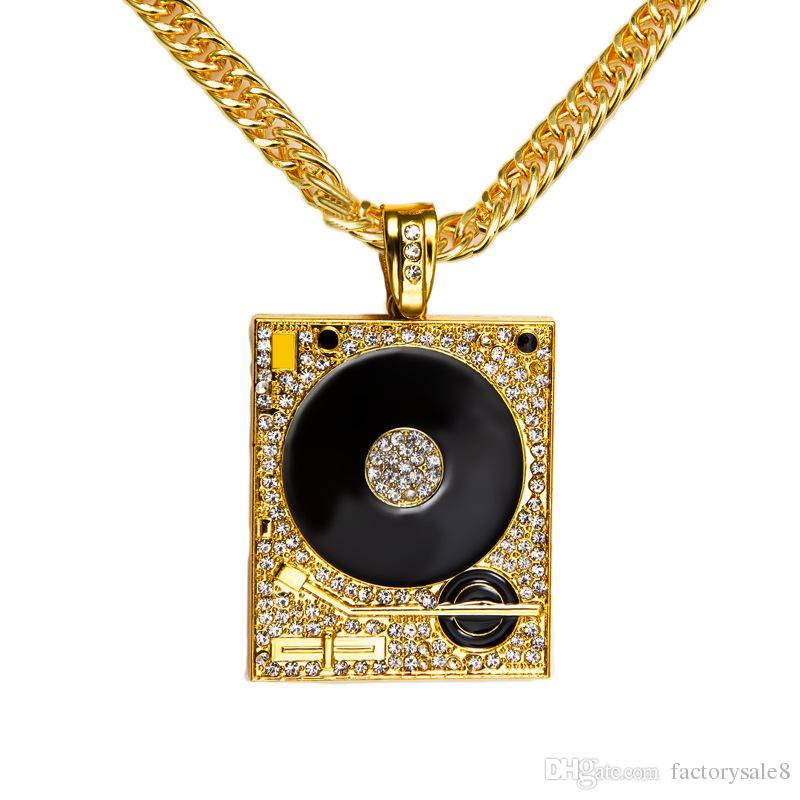 DJ Phonograph Big Pendant Necklace Men Jewelry Hiphop Chain Gold Silver Color Music Hip Hop Rock Rap Necklaces Mens Jewellery