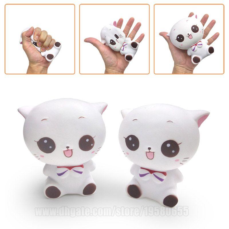 Cat With Tie Squishy Slow Rising White Kawaii Squishies Toy Cartoon Animal DHL Free Shipping SQU028