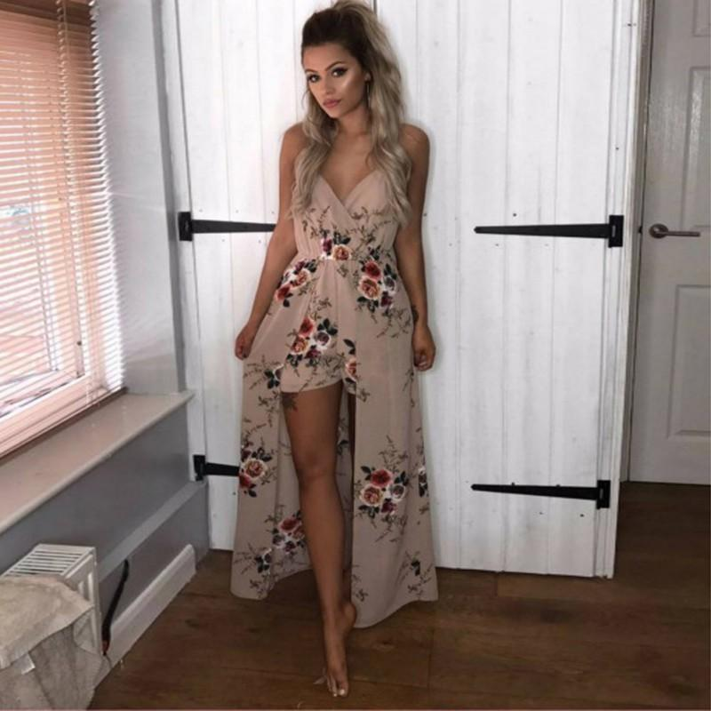 e06680dc7cac Sexy V Neck Jumpsuits Boho Beach Floral Printed Playsuits Women 2018 Summer  Sleeveless Rompers Elegant Party Barboteuse Femme Dresses From Women In  Long ...