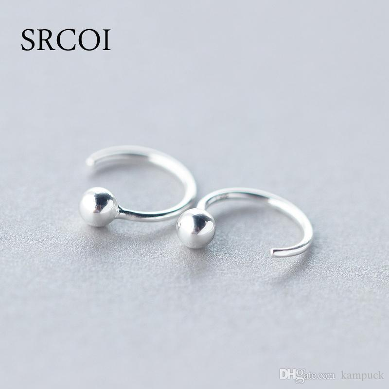2ce5691967866 Wholesale- Personalized Fashion 925 Sterling Silver Earrings Hoop With Tiny  Silver Ball Earrings Round Hoops Small Hoop Earrings For Women