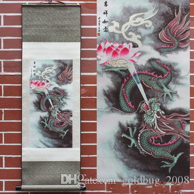Wholesale Cheap Blue Dragon & Leaping Carp Hanging Scroll Painting Home Decor Housewarming Gift 7 style options