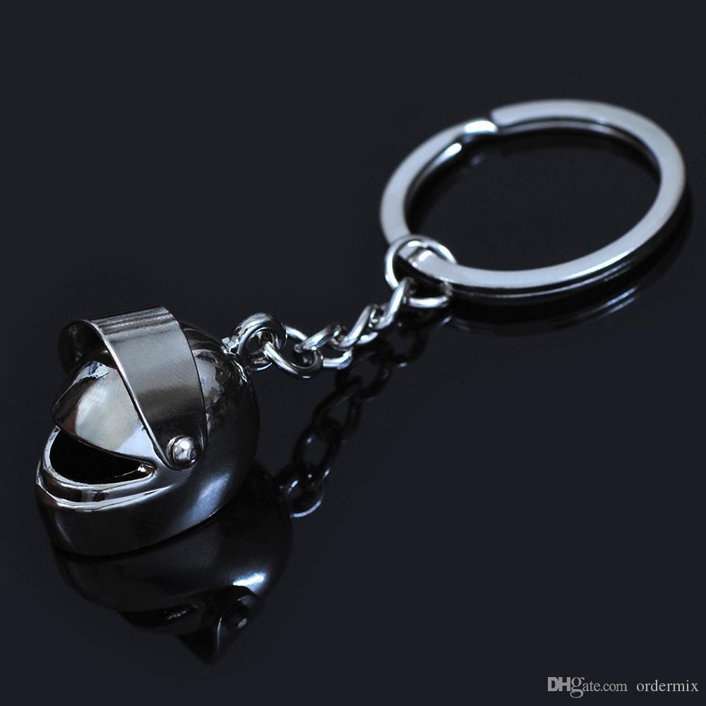 Marka Metal 3D Serin Kask Anahtarlık Motosiklet Bisiklet Oto Arabalar Casque Adam ve Kadınlar için Anahtarlık Yüzük Anahtarlık Anahtarlık ...