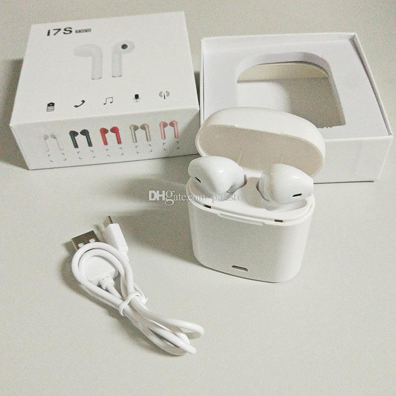 Auricolari Bluetooth wireless cuffie I7S TWS di migliore qualità con custodia mini Bluetooth Auricolari iPhone con scatola al minuto