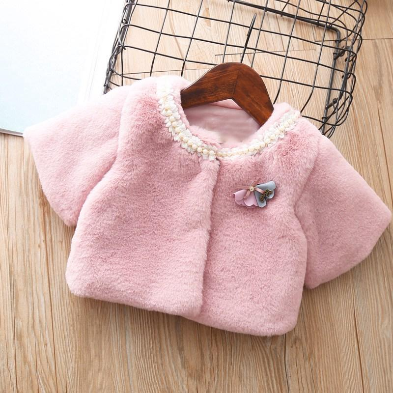 5e1f9d44a Autumn Winter Baby Girls Infants Thicken Beaded Collar Faux Fur ...