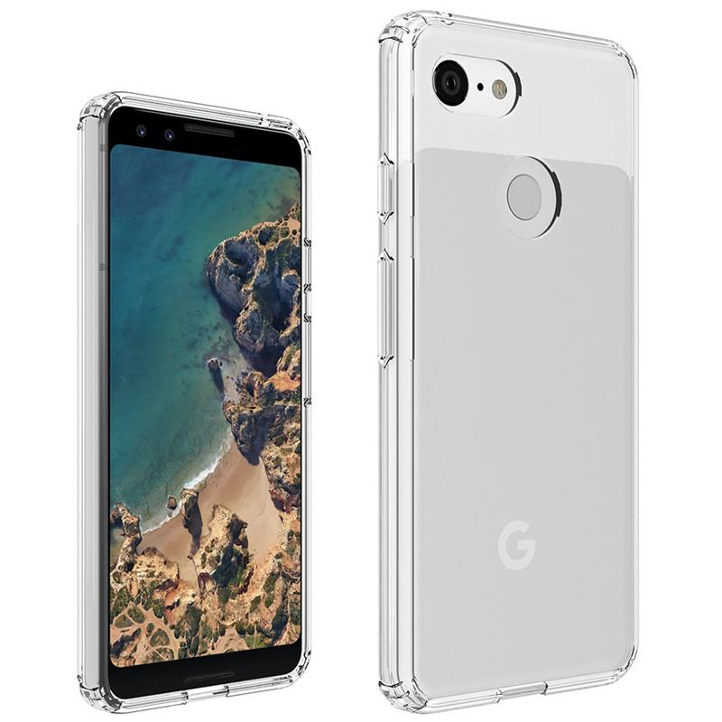 the latest 8fd00 ea62b For Google Pixel 3 XL Case Clear Hybrid Soft TPU Hard PC Back Cover Phone  Case For Google Pixel 3 pixel 3XL