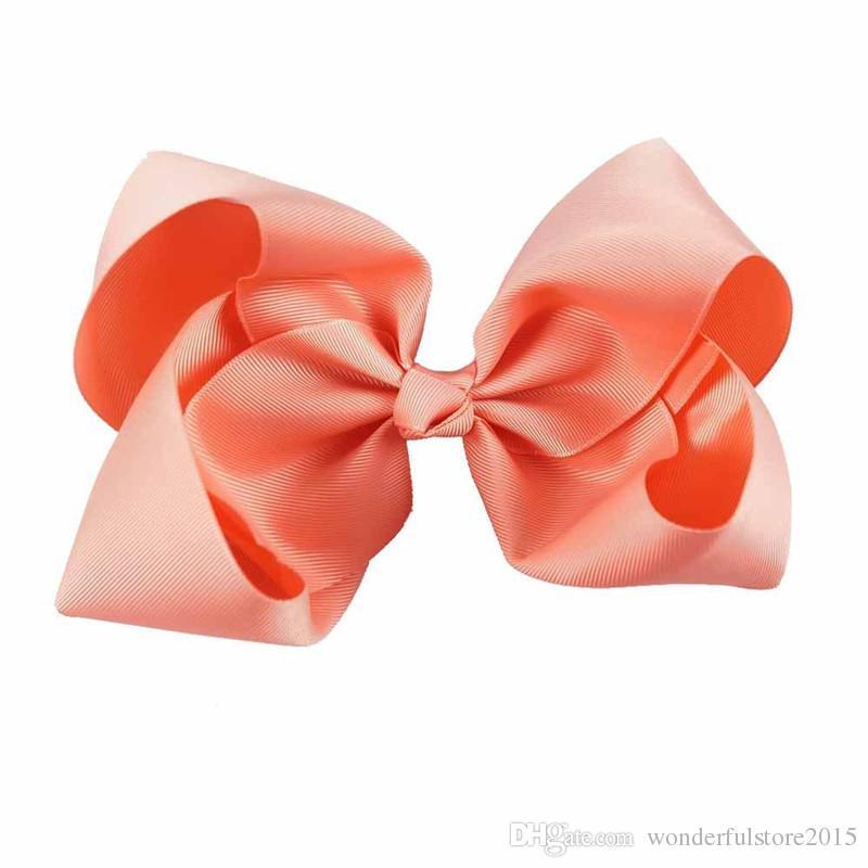 15 Cor 8 polegada Bowknot Hairbands Sólidos Arcos de Cabelo Kid Meninas Headwear Bebê Meninas Acessórios Para o Cabelo Com Jacaré Clipes 50 Pçs / lote