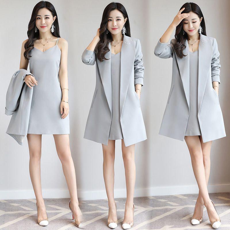 2fa54b76f84f5 Compre Nuevo Vestido De Gallus Sexy Y Blazers De Oficina Largos Para Mujer  Trajes De Vestido Slim Fit Para Damas Manteau Printemps Femme   De Dos  Piezas A ...