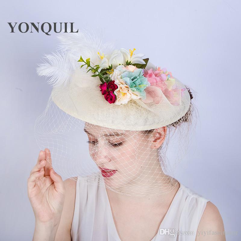 Fashion Ivory Wedding Hats Fascinators For Bride 30CM Big Cute Style Floral  Dot Veil Bowler Hat Women Banquet Black Party Headwear SYF173 Ladies  Vintage ... 0c6d9c03114