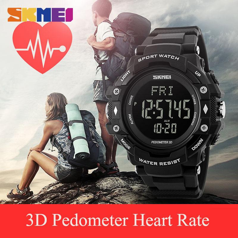 Watches Skmei Men Sports Watches 3d Pedometer Heart Rate Monitor Calories Counter 50m Waterproof Digital Led Mens Wristwatches