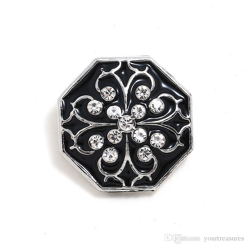 Geometric Button Jewelry Ginger Rhinestone Flower 18mm Snap Buttons for Leather Metal Snap Button Bracelet Bangle for Wome