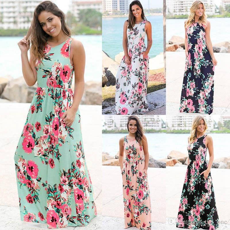 ba6a2b12960f2 2019 Women Floral Print Sleeveless Boho Dress Evening Gown Party Long Maxi  Dress Summer Sundress Casual Maternity Dresses From The_one, $11.25 |  DHgate.Com