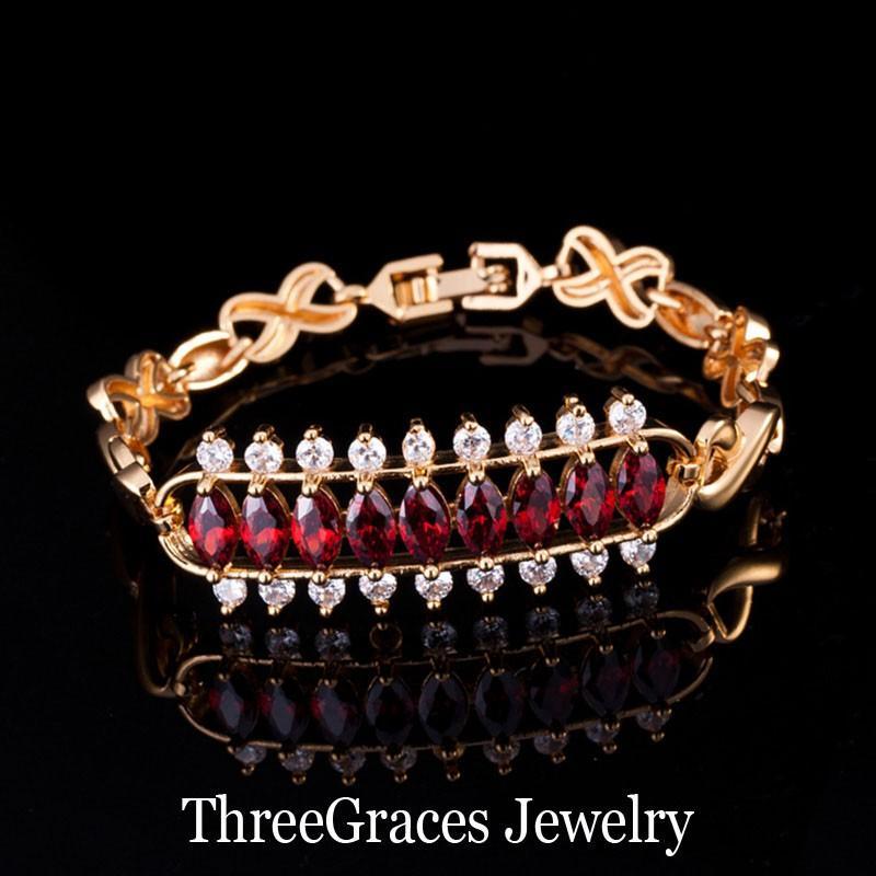 ThreeGraces Zarif Altın Renk Gelin Takı Temizle Beyaz 3 Satır Yuvarlak Ve Markiz Kadınlar Için CZ Kristal Düğün Bilezikler BR073