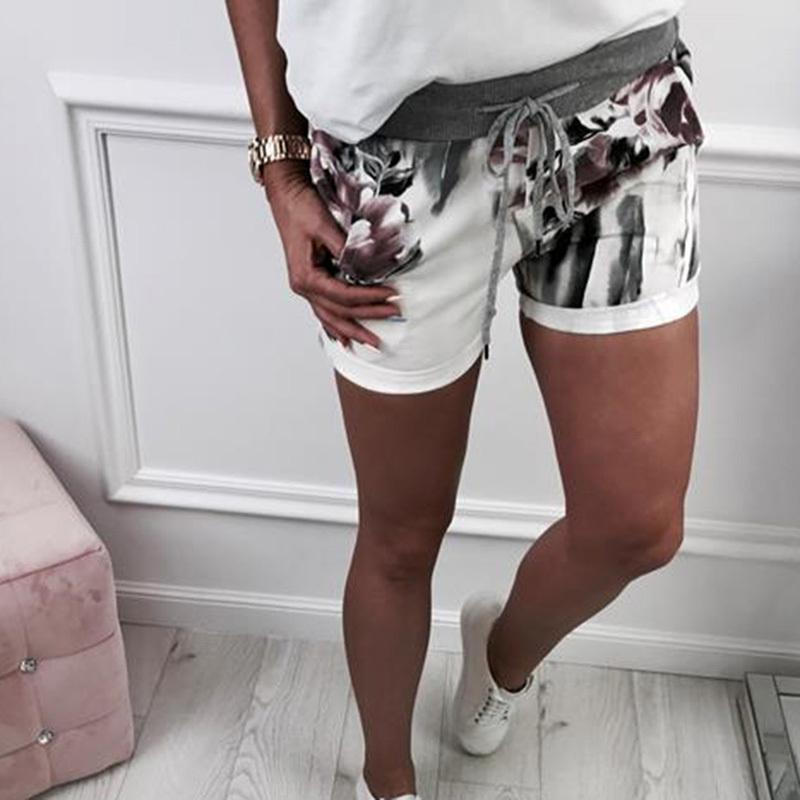 d2cb6e67657f Señoras del verano Shorts Mujeres Flor Impreso Ropa de Playa Tablero de  Streetwear Vendaje Ocasional Con Cordones Hasta Pantalones Cortos Nueva Moda
