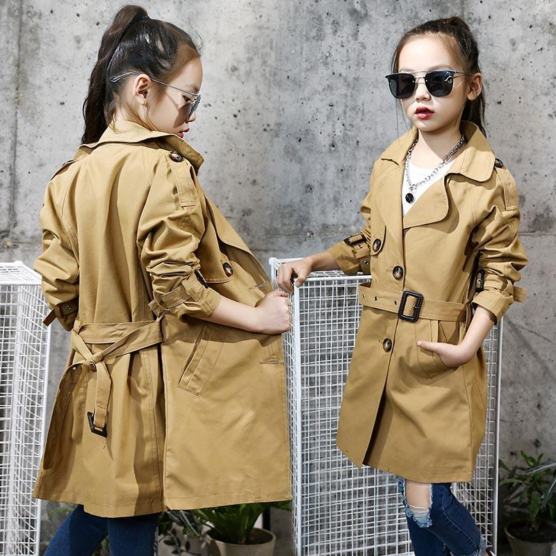 ef282f703 2018 New Spring Fashion Girl Trench Coats Cotton Long Classic Trench ...