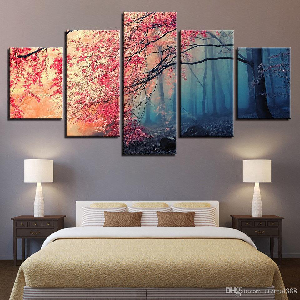 Compre 5 Paneles Red Trees Forest Cherry Blossoms Painting Canvas ...