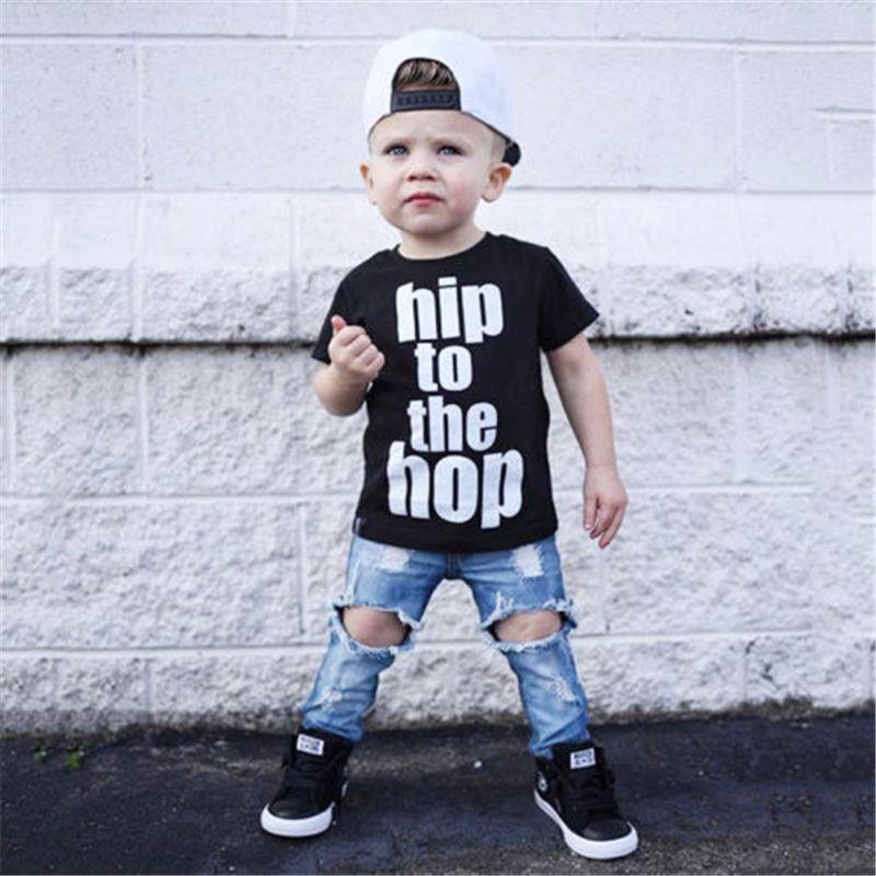 ... Maschi Abbigliamento Bambini Ragazzi Hip Hop Lettera T Shirt Tee Top +  Denim Hole Pantaloni Outfit Set Baby Boy Vestiti A  20.5 Dal Humom  31b2710d6e13
