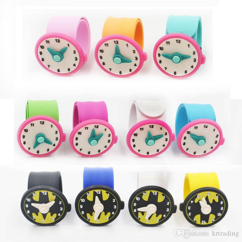 11 styles Watch toys Silicone Clap Wristband 21.5x2.5x0.2cm dial 4cm Flexible pointers fashion girls boys kids Bracelet toys party Concert