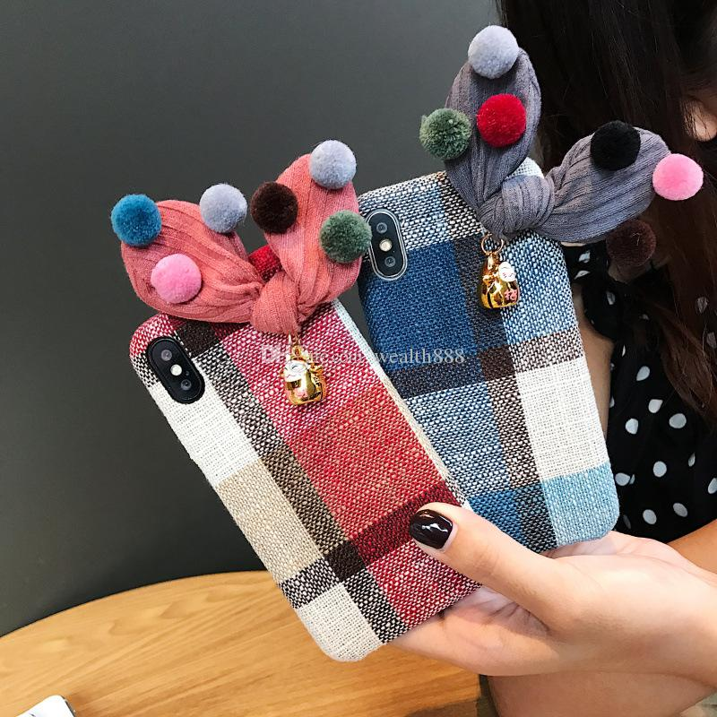 dfff935669bf Plaid Plus Cloth Soft Phone Case For IPhone XS Max XR X 8 7 6S Plus Luxury  Grid Fabric Stripe Cases Cover W  Hairball Rabbit Ears Cell Phone Case  Mobile ...