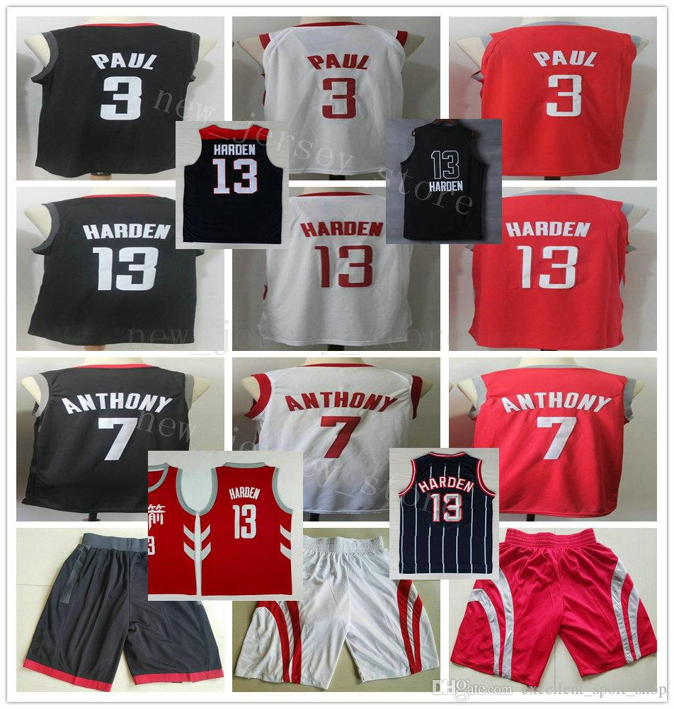 wholesale dealer e6f05 19fcc College NCAA Red Chinese City Edition Red #13 James Harden Jersey Stitched  Black #7 Carmelo Anthony White #3 Chris Paul Jerseys Shorts