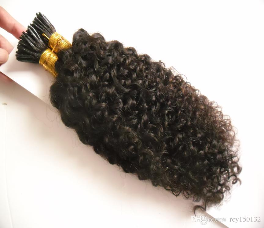 Afro Kinky Cheveux Bouclés Naturel Couleur I Astuce extensions de cheveux crépus bouclés Humain Pré Bondé Fusion mongolien crépus cheveux bouclés 1.0g / s 100g