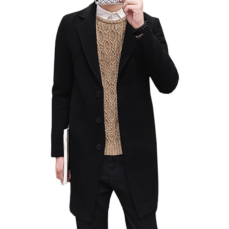 4ad83e1f1 2018 New Winter Wool Coat Men Leisure Long Sections Woolen Coats Men'S Pure  Color Casual Fashion Jackets / Casual Men Overcoat