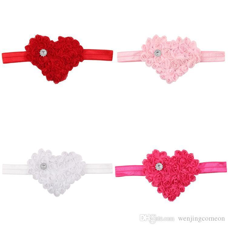 San Valentino Shabby Girls San Valentino Cuore Fiori Perla Diamante Glitter Fascia capelli Newborn Baby Hairbow Foto Prop