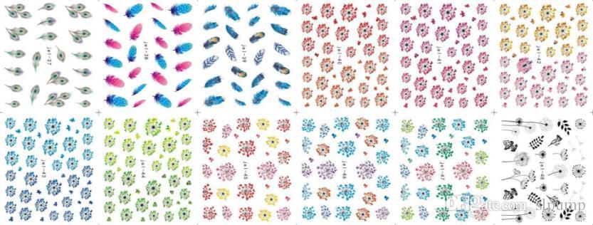 48 Blätter Mix Farbe Transferfolie Nail art Blumen Aufkleber für polnische Pflege DIY Universum Nail Art Decoretion